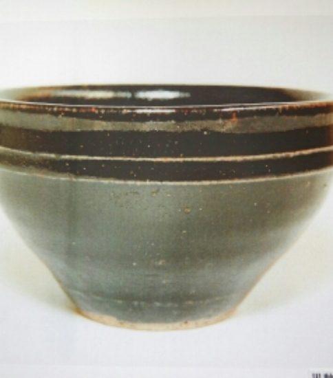 黒釉白堆線文天目茶碗「元」