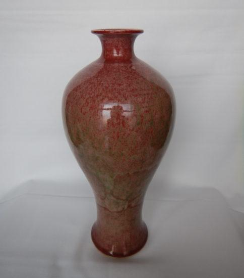 大清康煕官窯 桃花紅梅瓶(ピーチブルーム)桃の花