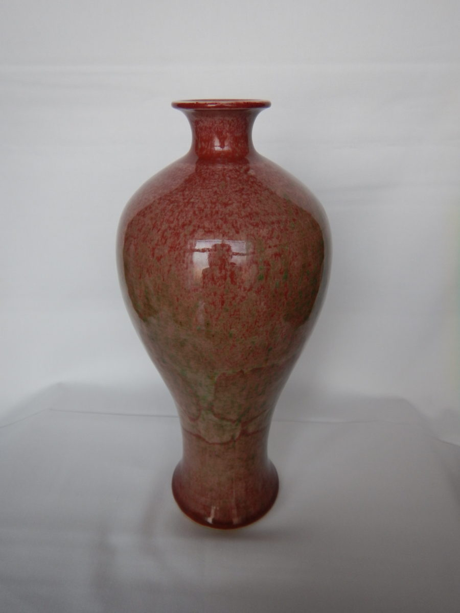 大清康煕官窯 桃花紅梅瓶(ビーチブルーム)
